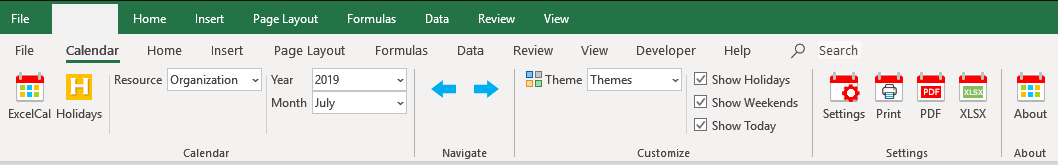 Excel Calendar Ribbon Menu