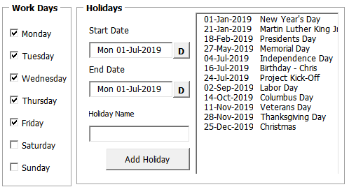 Calendar Holidays Weekends