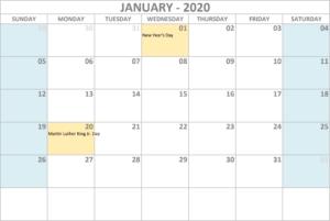 Calendar 2020 January - United States