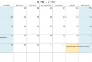 Calendar 2020 June - United States