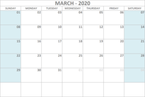 Calendar 2020 March - United States