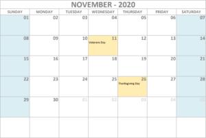 Calendar 2020 November - United States