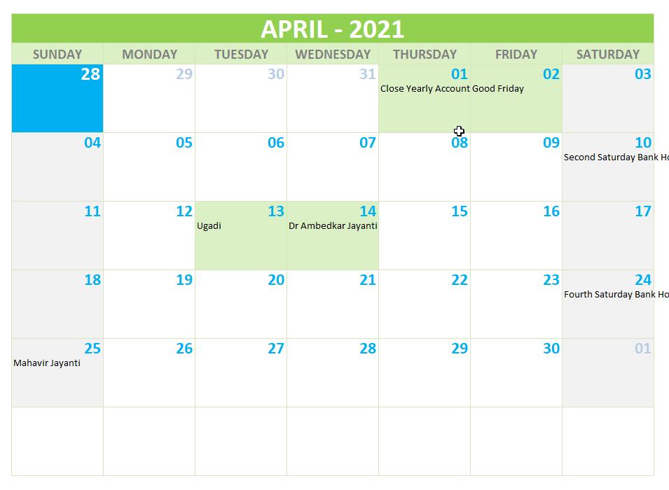 Indian Bank Holidays April 2021